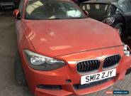 2012 12 BMW 120D M SPORT AUTO ORANGE - damaged - salvage - spares or repairs for Sale