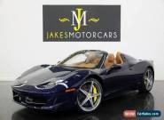 2013 Ferrari 458 Spider (1-OWNER) for Sale